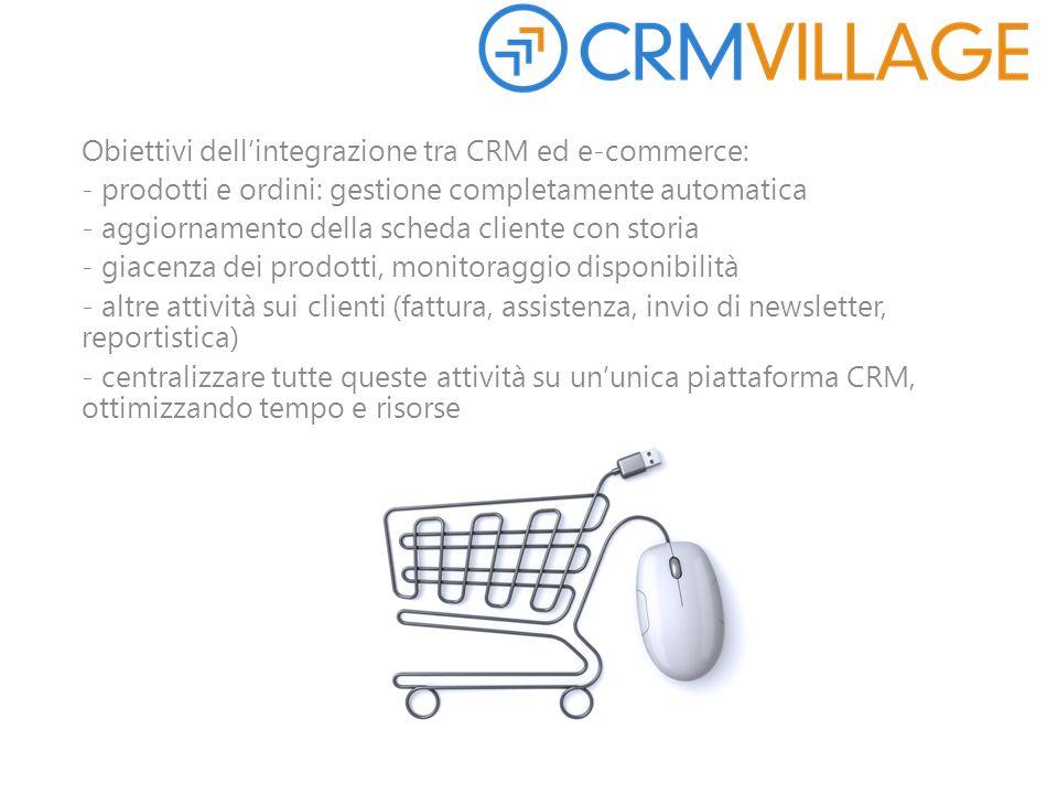 Obiettivi dell'integrazione tra CRM ed e-commerce: - prodotti e ordini: gestione completamente automatica - aggiornamento della scheda cliente con sto