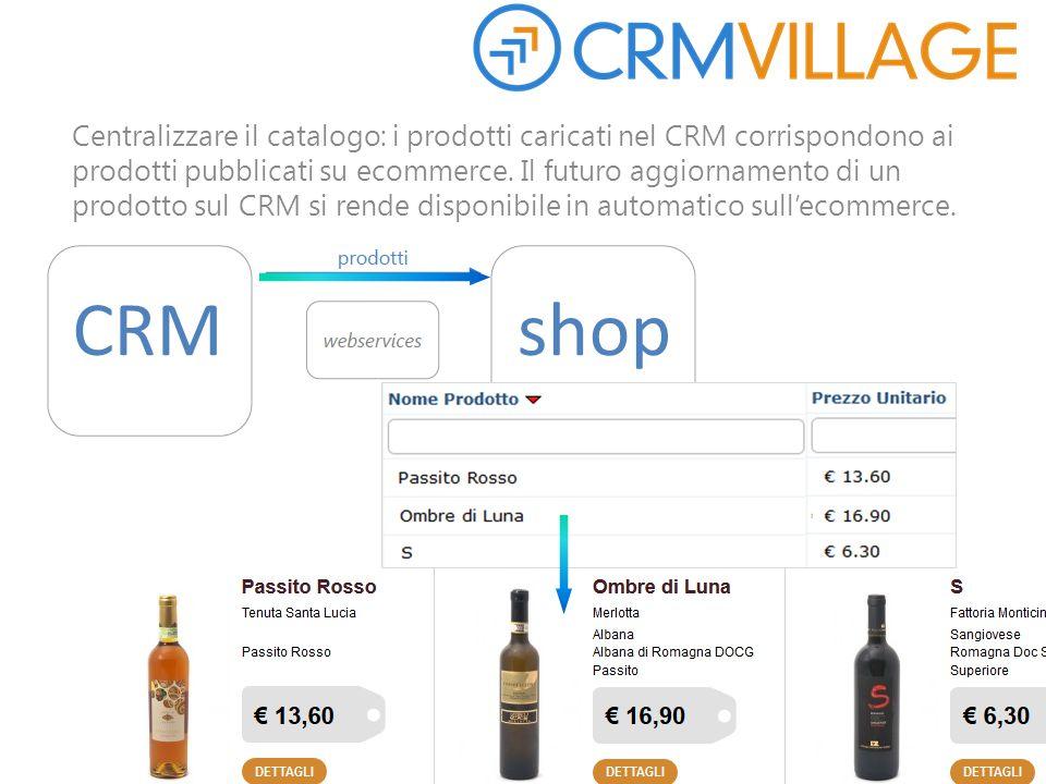 Centralizzare il catalogo: i prodotti caricati nel CRM corrispondono ai prodotti pubblicati su ecommerce. Il futuro aggiornamento di un prodotto sul C