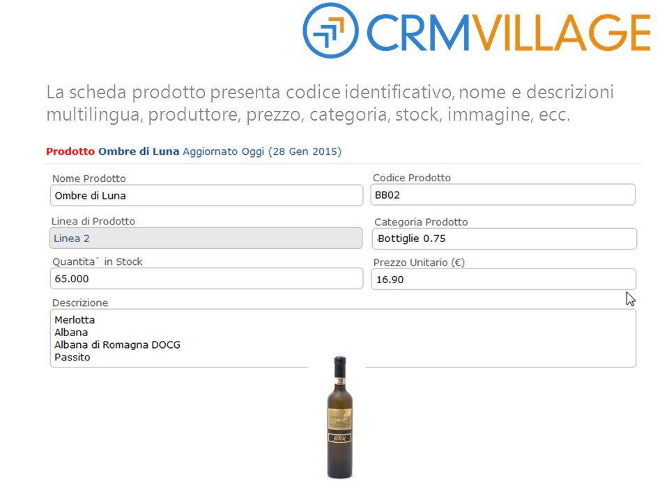 La scheda prodotto presenta codice identificativo, nome e descrizioni multilingua, produttore, prezzo, categoria, stock, immagine, ecc.