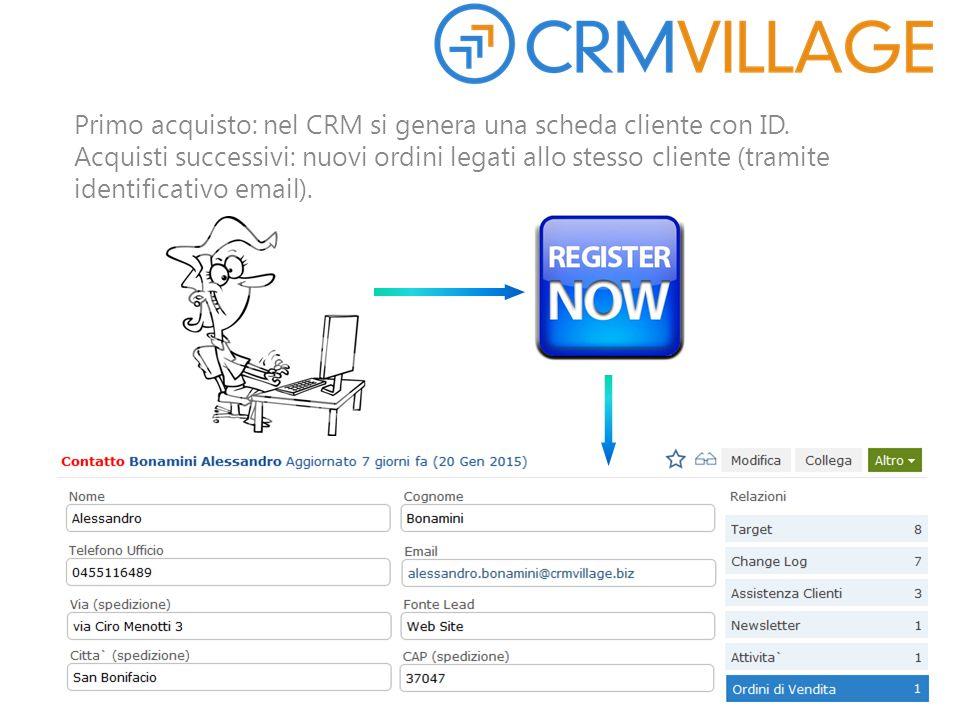 Primo acquisto: nel CRM si genera una scheda cliente con ID. Acquisti successivi: nuovi ordini legati allo stesso cliente (tramite identificativo emai