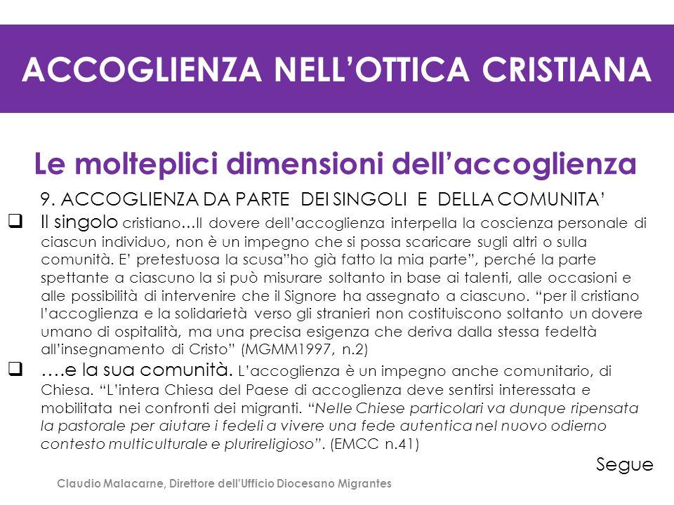 ACCOGLIENZA NELL'OTTICA CRISTIANA Le molteplici dimensioni dell'accoglienza 9. ACCOGLIENZA DA PARTE DEI SINGOLI E DELLA COMUNITA'  Il singolo cristia