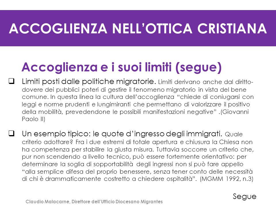ACCOGLIENZA NELL'OTTICA CRISTIANA Accoglienza e i suoi limiti (segue)  Limiti posti dalle politiche migratorie. Limiti derivano anche dal diritto- do