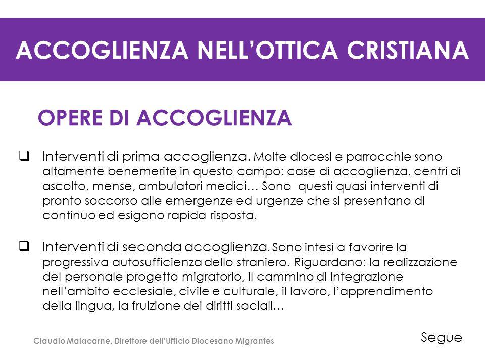 ACCOGLIENZA NELL'OTTICA CRISTIANA OPERE DI ACCOGLIENZA  Interventi di prima accoglienza. Molte diocesi e parrocchie sono altamente benemerite in ques