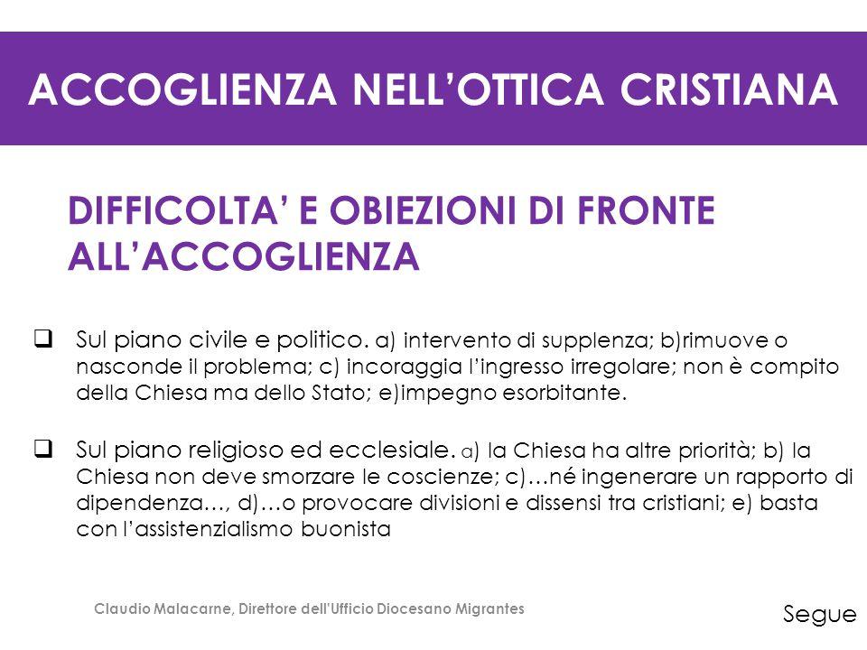 ACCOGLIENZA NELL'OTTICA CRISTIANA DIFFICOLTA' E OBIEZIONI DI FRONTE ALL'ACCOGLIENZA  Sul piano civile e politico. a) intervento di supplenza; b)rimuo