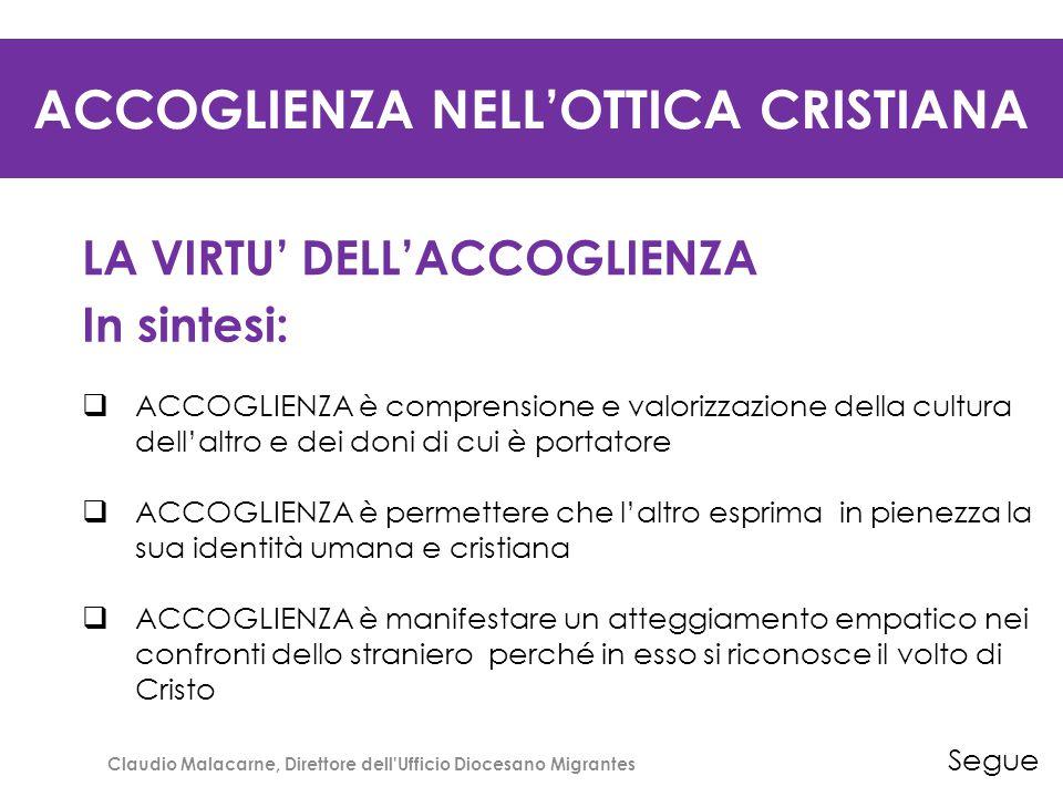 ACCOGLIENZA NELL'OTTICA CRISTIANA LA VIRTU' DELL'ACCOGLIENZA In sintesi:  ACCOGLIENZA è comprensione e valorizzazione della cultura dell'altro e dei