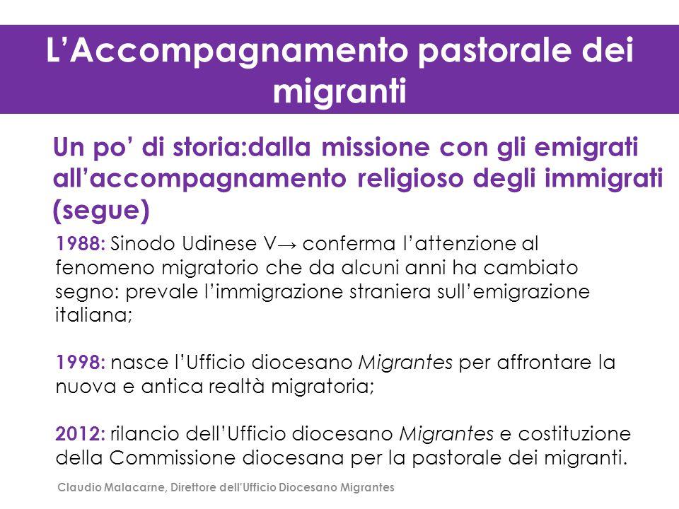 L'Accompagnamento pastorale dei migranti Un po' di storia:dalla missione con gli emigrati all'accompagnamento religioso degli immigrati (segue) 1988: