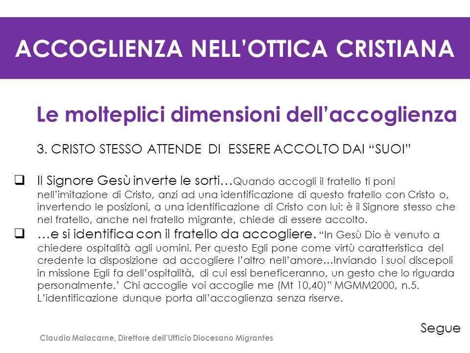 ACCOGLIENZA NELL'OTTICA CRISTIANA Le molteplici dimensioni dell'accoglienza 4.