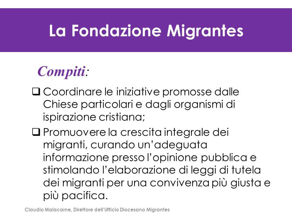 Claudio Malacarne, Direttore dell'Ufficio Diocesano Migrantes La Fondazione Migrantes  Coordinare le iniziative promosse dalle Chiese particolari e d
