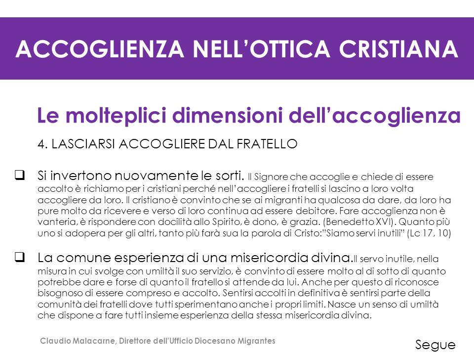 ACCOGLIENZA NELL'OTTICA CRISTIANA Le molteplici dimensioni dell'accoglienza 5.