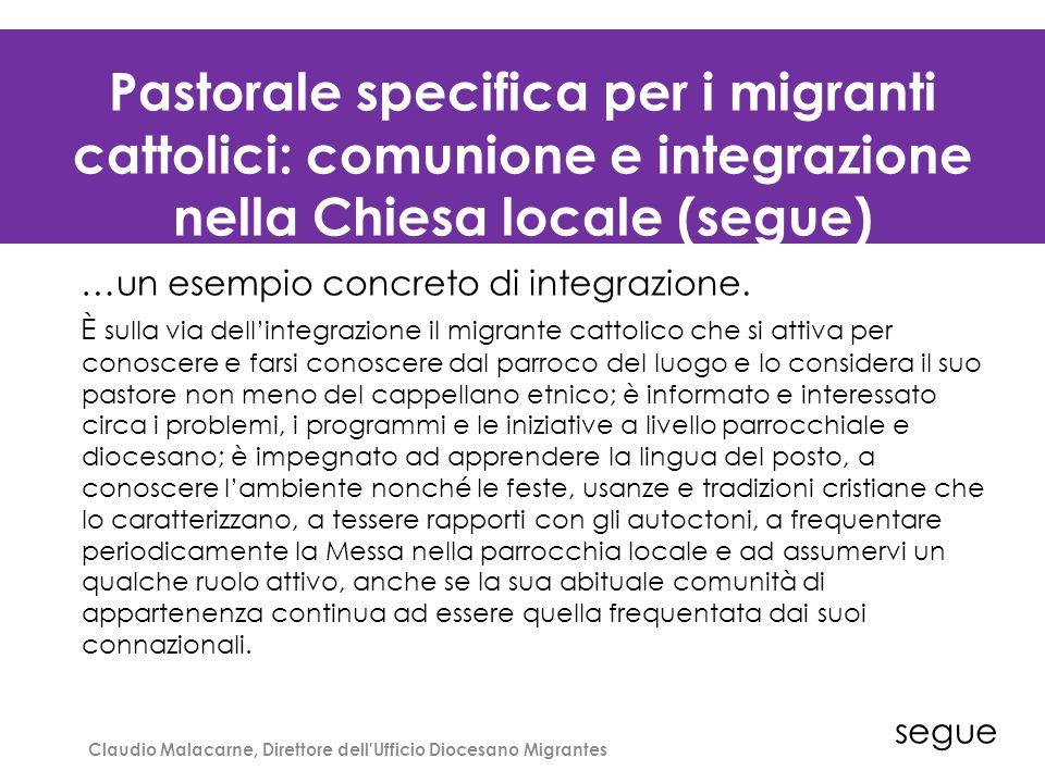 La distribuzione degli immigrati stranieri per contesti territoriali al 1° gennaio 2011/1 Claudio Malacarne, Direttore dell'Ufficio Diocesano Migrante