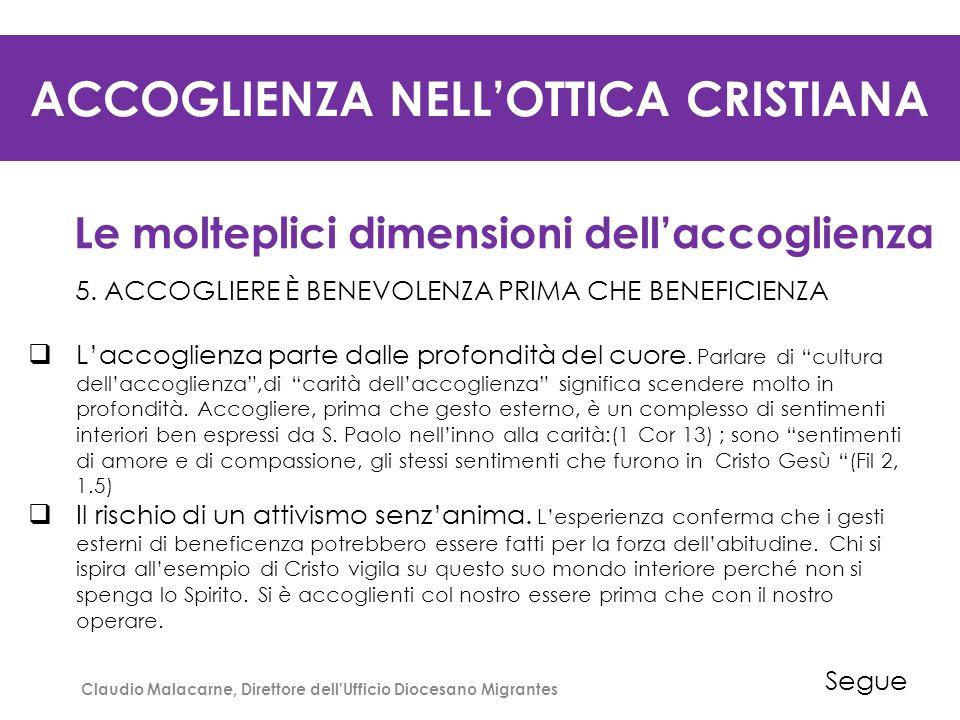 ACCOGLIENZA NELL'OTTICA CRISTIANA Le molteplici dimensioni dell'accoglienza 6.