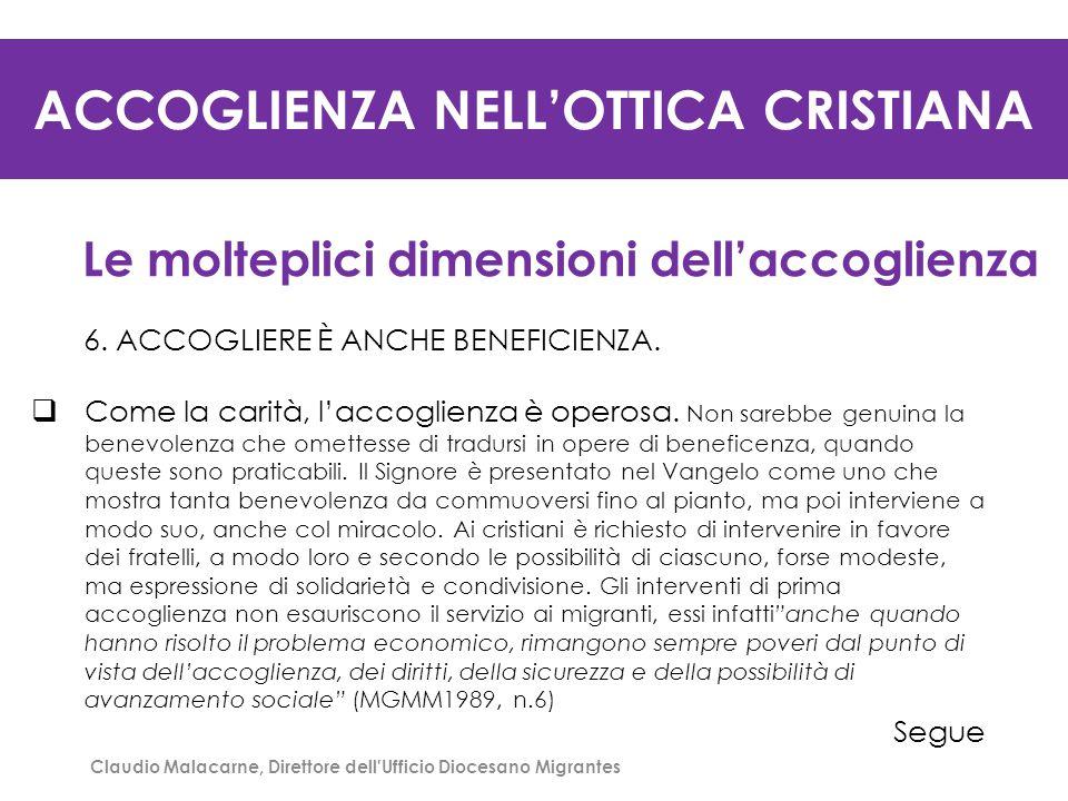 ACCOGLIENZA NELL'OTTICA CRISTIANA Le molteplici dimensioni dell'accoglienza 7.