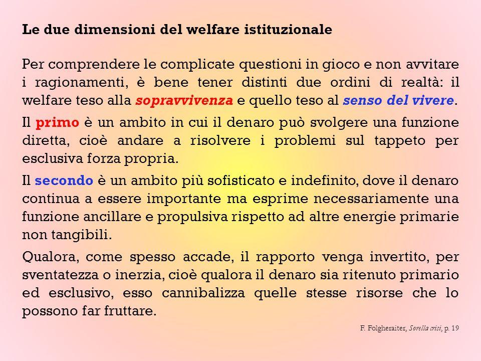 Le due dimensioni del welfare istituzionale Per comprendere le complicate questioni in gioco e non avvitare i ragionamenti, è bene tener distinti due ordini di realtà: il welfare teso alla sopravvivenza e quello teso al senso del vivere.