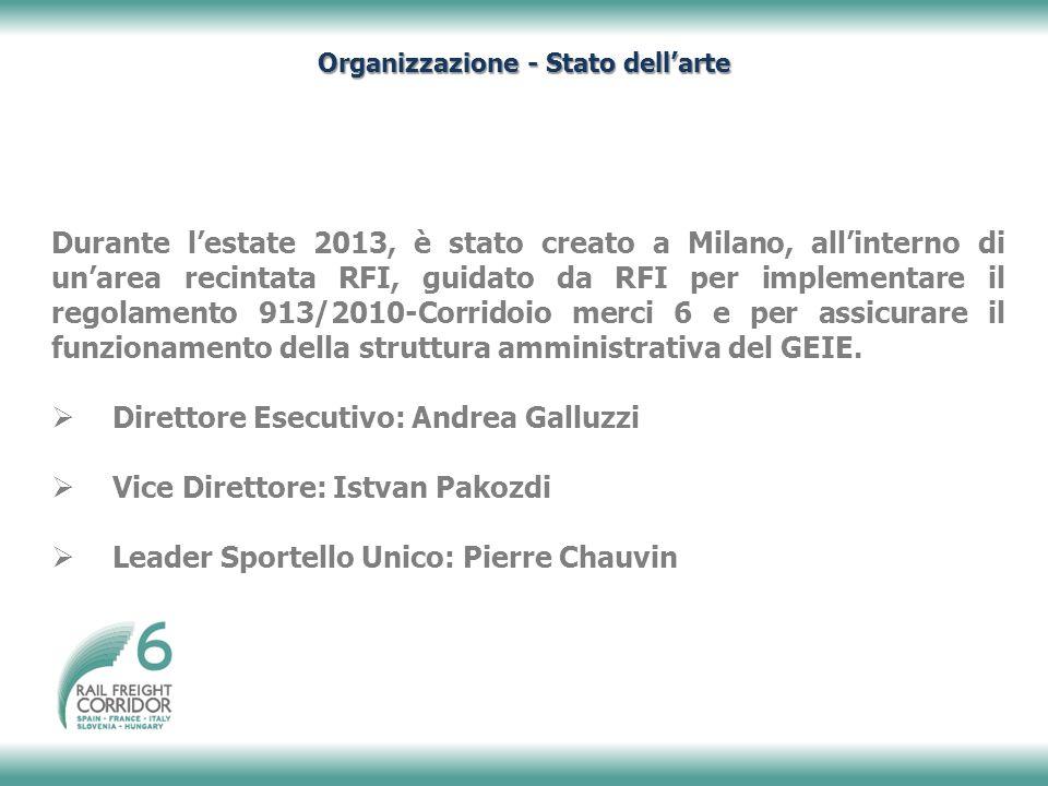 Durante l'estate 2013, è stato creato a Milano, all'interno di un'area recintata RFI, guidato da RFI per implementare il regolamento 913/2010-Corridoio merci 6 e per assicurare il funzionamento della struttura amministrativa del GEIE.