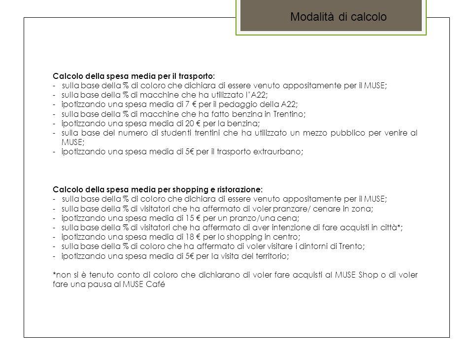 Calcolo della spesa media per il trasporto: - sulla base della % di coloro che dichiara di essere venuto appositamente per il MUSE; -sulla base della % di macchine che ha utilizzato l'A22; -ipotizzando una spesa media di 7 € per il pedaggio della A22; -sulla base della % di macchine che ha fatto benzina in Trentino; -ipotizzando una spesa media di 20 € per la benzina; -sulla base del numero di studenti trentini che ha utilizzato un mezzo pubblico per venire al MUSE; -ipotizzando una spesa media di 5€ per il trasporto extraurbano; Calcolo della spesa media per shopping e ristorazione: - sulla base della % di coloro che dichiara di essere venuto appositamente per il MUSE; -sulla base della % di visitatori che ha affermato di voler pranzare/ cenare in zona; -ipotizzando una spesa media di 15 € per un pranzo/una cena; -sulla base della % di visitatori che ha affermato di aver intenzione di fare acquisti in città*; -ipotizzando una spesa media di 18 € per lo shopping in centro; -sulla base della % di coloro che ha affermato di voler visitare i dintorni di Trento; -ipotizzando una spesa media di 5€ per la visita del territorio; *non si è tenuto conto di coloro che dichiarano di voler fare acquisti al MUSE Shop o di voler fare una pausa al MUSE Café Modalità di calcolo