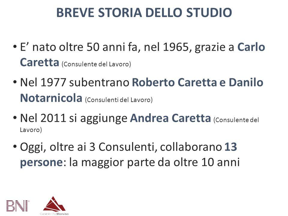 BREVE STORIA DELLO STUDIO E' nato oltre 50 anni fa, nel 1965, grazie a Carlo Caretta (Consulente del Lavoro) Nel 1977 subentrano Roberto Caretta e Dan