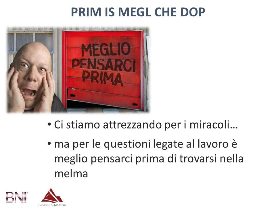 PRIM IS MEGL CHE DOP No sorprese sui costi No cause da parte dei dipendenti No problemi con datori di lavoro