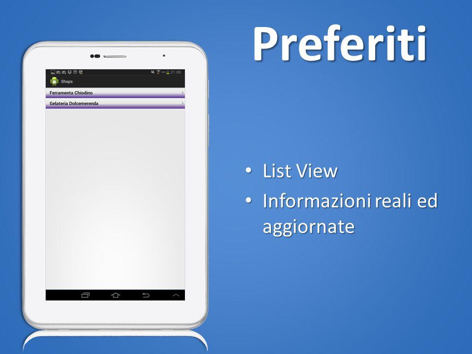 Preferiti List View List View Informazioni reali ed aggiornate Informazioni reali ed aggiornate