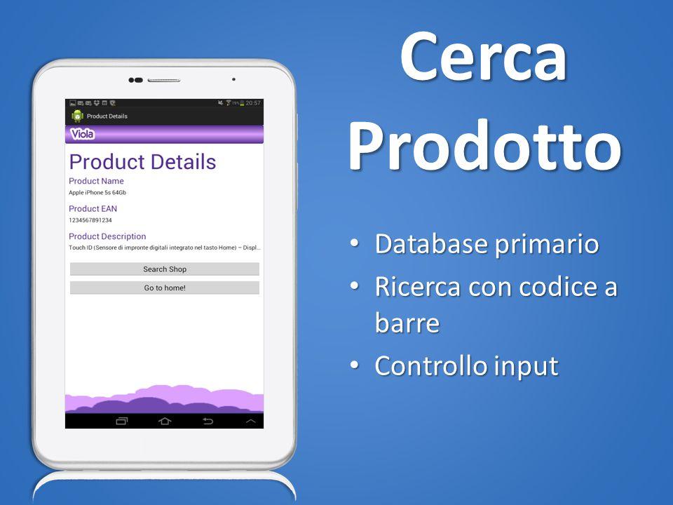 Cerca Prodotto Database primario Database primario Ricerca con codice a barre Ricerca con codice a barre Controllo input Controllo input