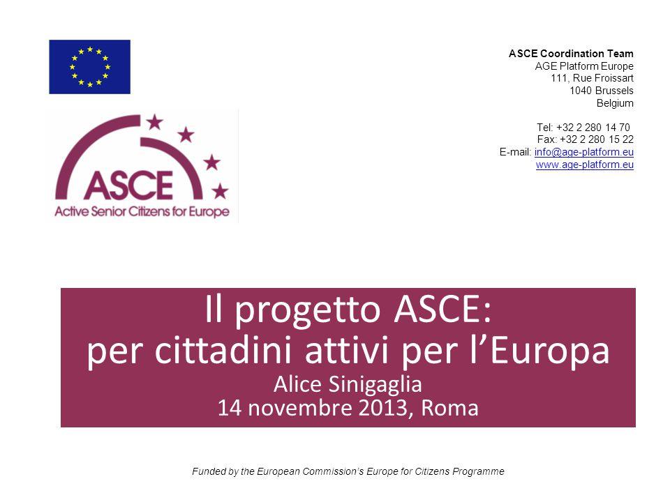 Il nome del progetto significa cittadini anziani attivi per l'Europa : – Active – Senior – Citizens – For Europe Funded by the European Commission's Europe for Citizens' Programme Sample Content Slide Cosa significa l' acronimo ASCE?