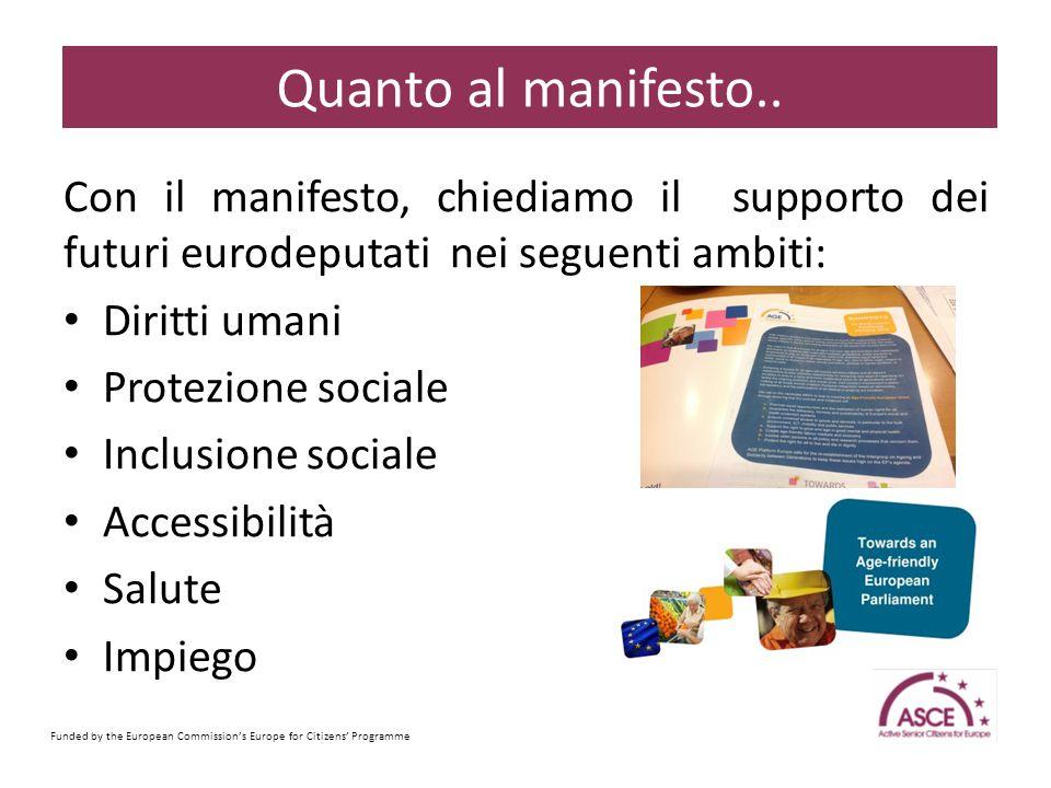Con il manifesto, chiediamo il supporto dei futuri eurodeputati nei seguenti ambiti: Diritti umani Protezione sociale Inclusione sociale Accessibilità Salute Impiego Funded by the European Commission's Europe for Citizens' Programme Sample Content Slide Quanto al manifesto..