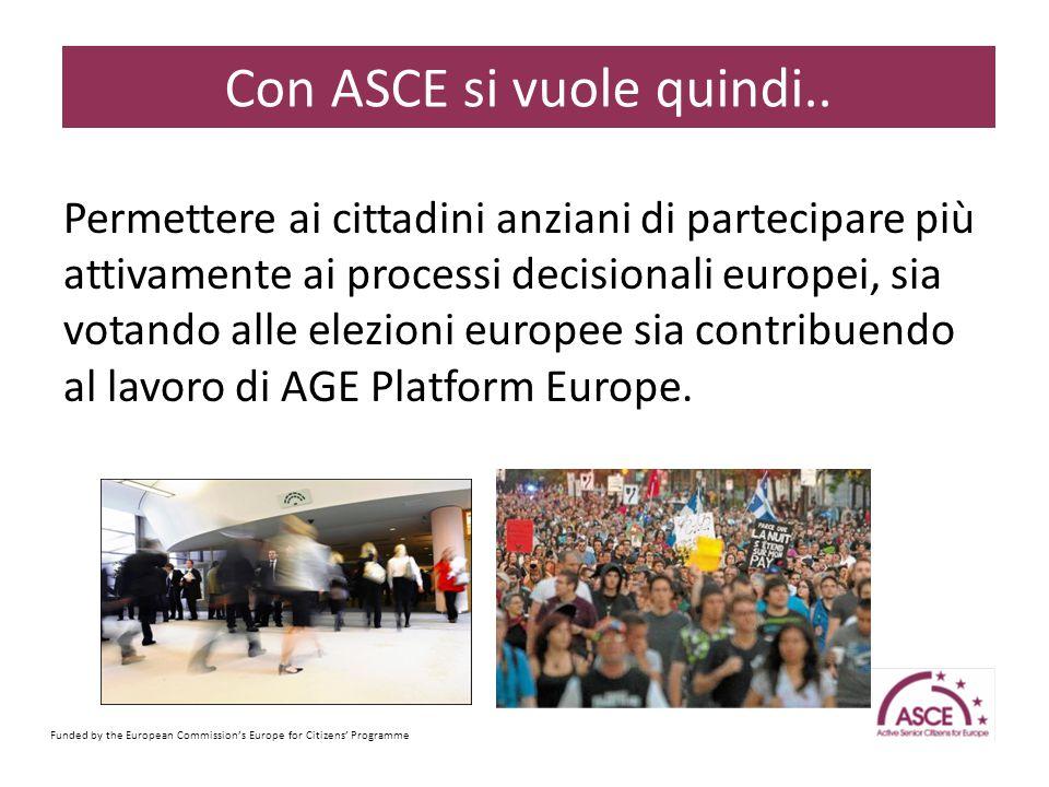 Permettere ai cittadini anziani di partecipare più attivamente ai processi decisionali europei, sia votando alle elezioni europee sia contribuendo al lavoro di AGE Platform Europe.