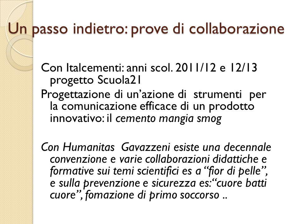 Un passo indietro: prove di collaborazione Con Italcementi: anni scol. 2011/12 e 12/13 progetto Scuola21 Progettazione di un'azione di strumenti per l