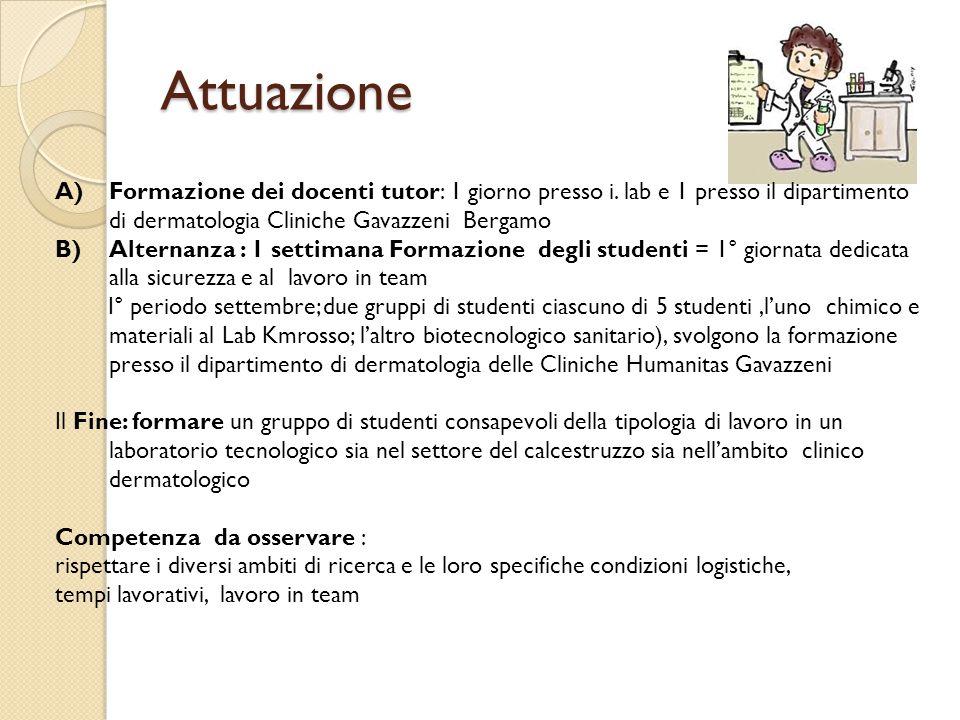 Attuazione A)Formazione dei docenti tutor: 1 giorno presso i. lab e 1 presso il dipartimento di dermatologia Cliniche Gavazzeni Bergamo B)Alternanza :