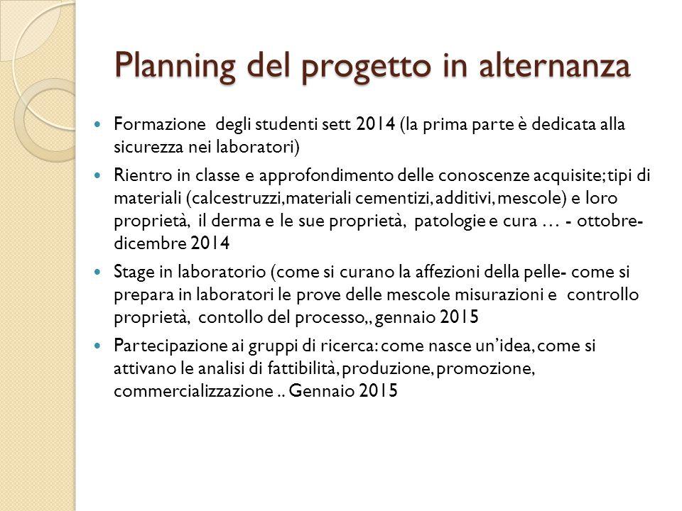 Planning del progetto in alternanza Formazione degli studenti sett 2014 (la prima parte è dedicata alla sicurezza nei laboratori) Rientro in classe e