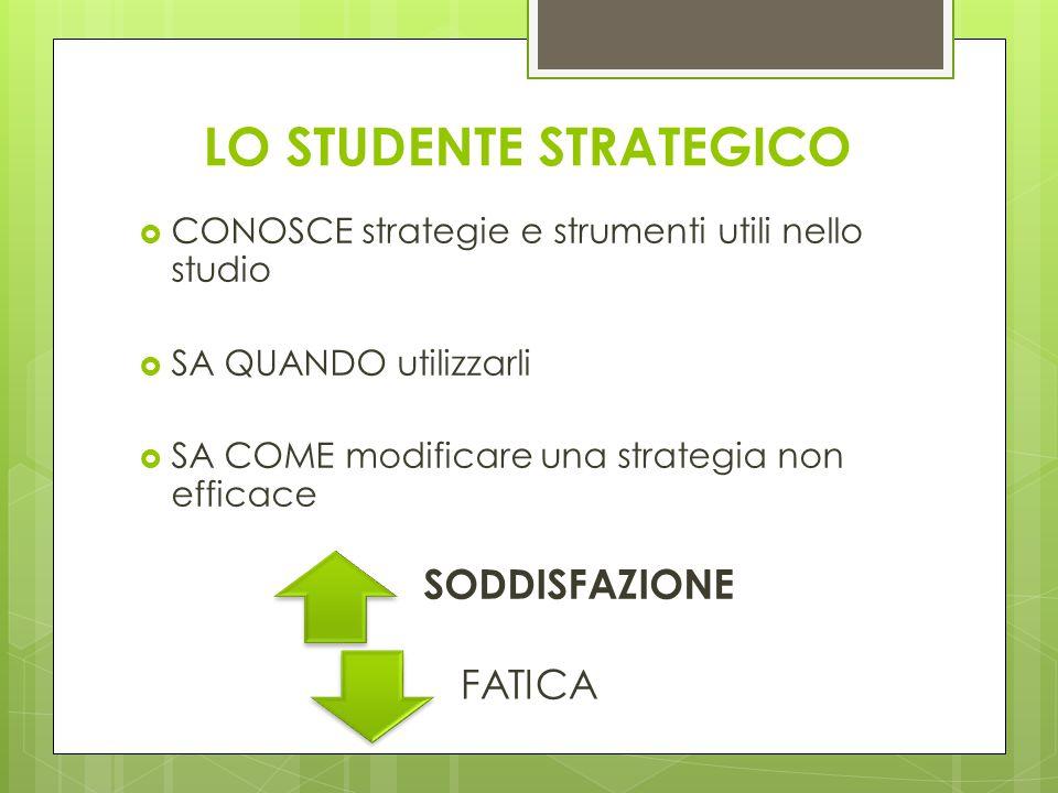 LO STUDENTE STRATEGICO  CONOSCE strategie e strumenti utili nello studio  SA QUANDO utilizzarli  SA COME modificare una strategia non efficace SODD