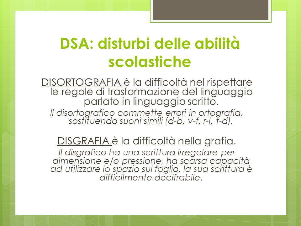 DSA: disturbi delle abilità scolastiche DISORTOGRAFIA è la difficoltà nel rispettare le regole di trasformazione del linguaggio parlato in linguaggio