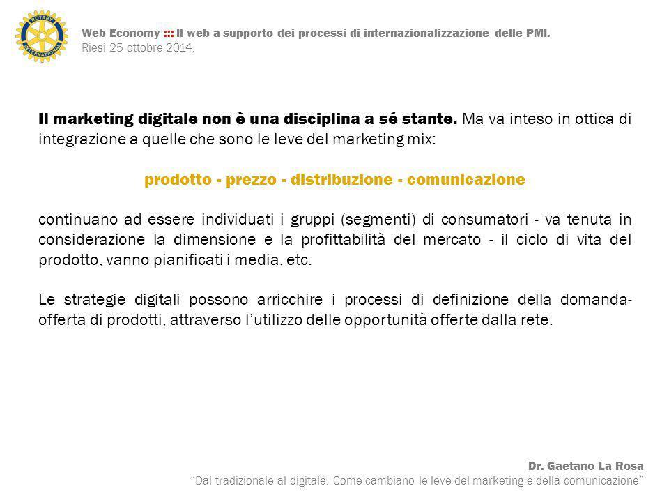 """Web Economy ::: Il web a supporto dei processi di internazionalizzazione delle PMI. Riesi 25 ottobre 2014. Dr. Gaetano La Rosa """"Dal tradizionale al di"""