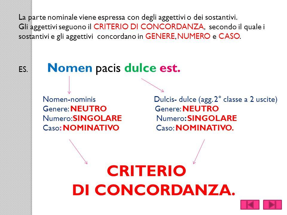 La parte nominale viene espressa con degli aggettivi o dei sostantivi. Gli aggettivi seguono il CRITERIO DI CONCORDANZA, secondo il quale i sostantivi