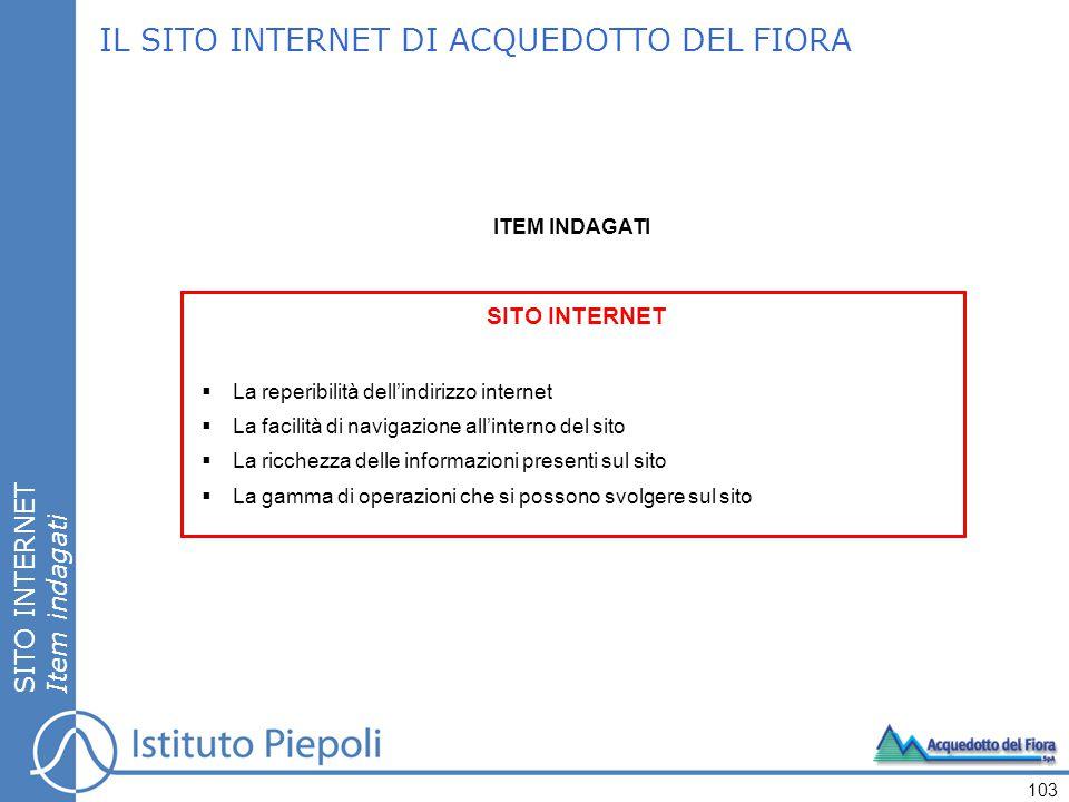 IL SITO INTERNET DI ACQUEDOTTO DEL FIORA SITO INTERNET  La reperibilità dell'indirizzo internet  La facilità di navigazione all'interno del sito  L
