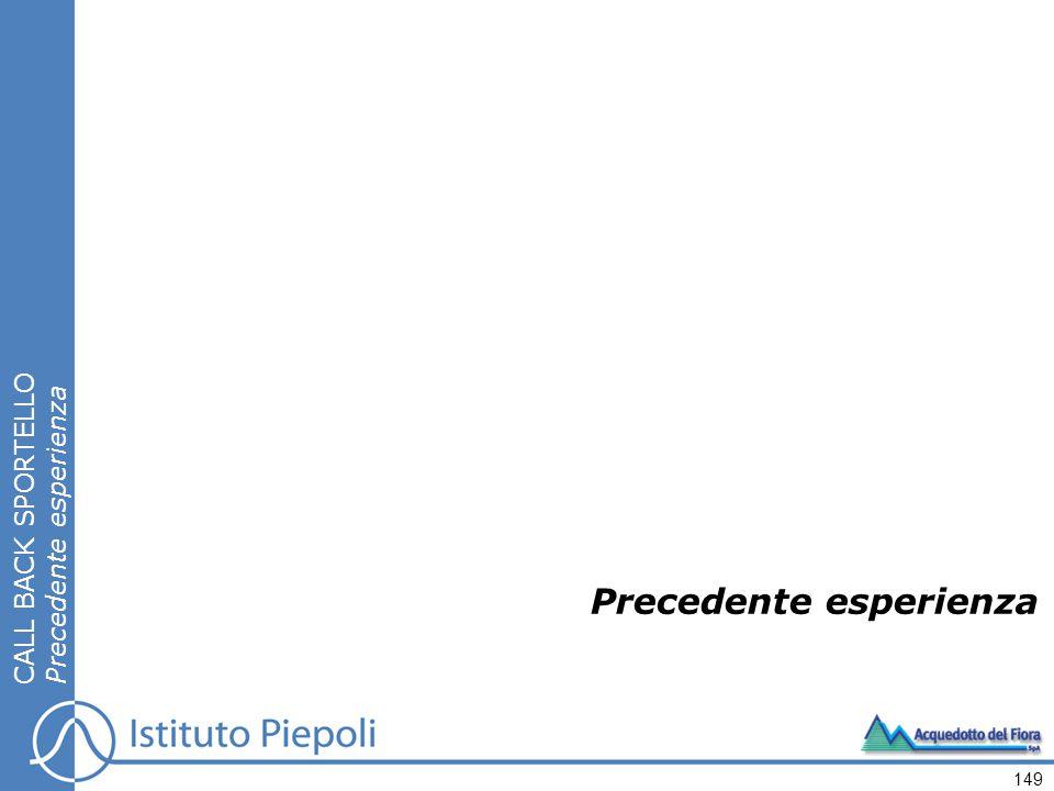 Precedente esperienza CALL BACK SPORTELLO Precedente esperienza 149