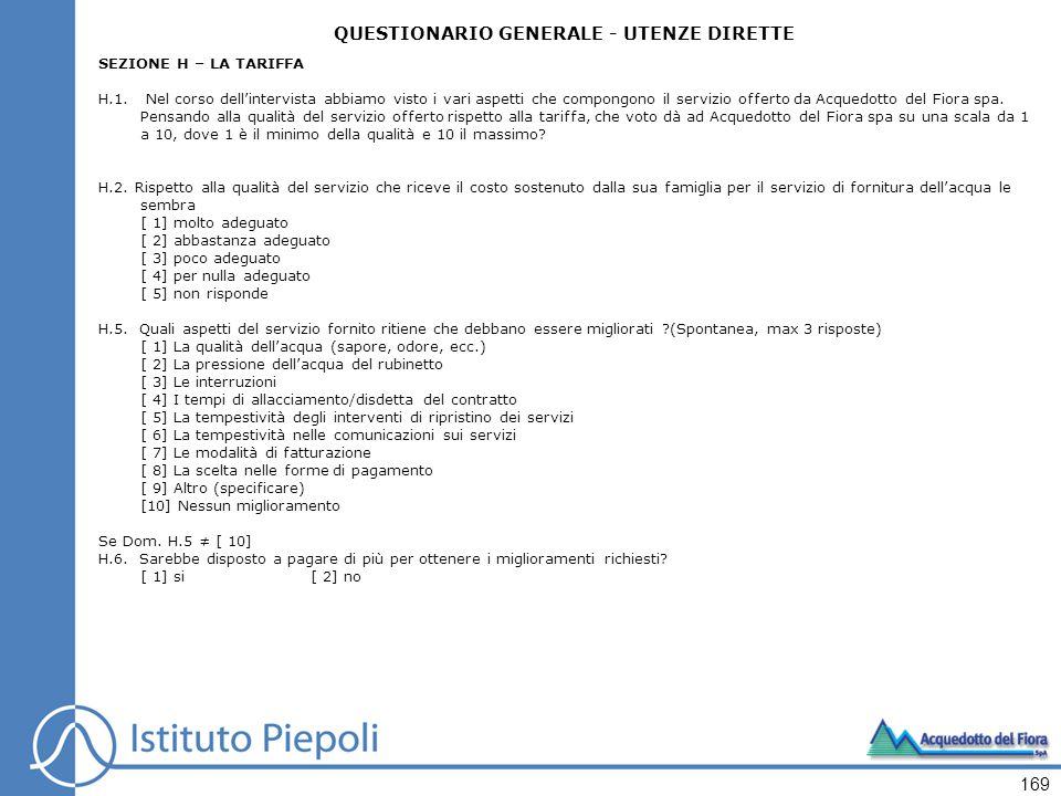 169 QUESTIONARIO GENERALE - UTENZE DIRETTE SEZIONE H – LA TARIFFA H.1.
