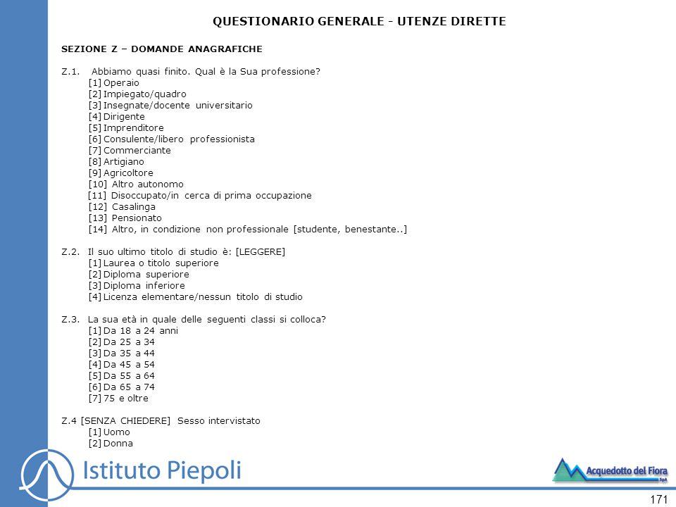 171 QUESTIONARIO GENERALE - UTENZE DIRETTE SEZIONE Z – DOMANDE ANAGRAFICHE Z.1.