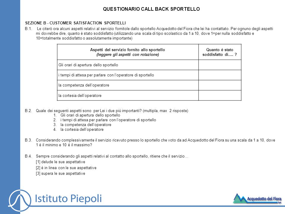 SEZIONE B - CUSTOMER SATISFACTION SPORTELLI B.1.