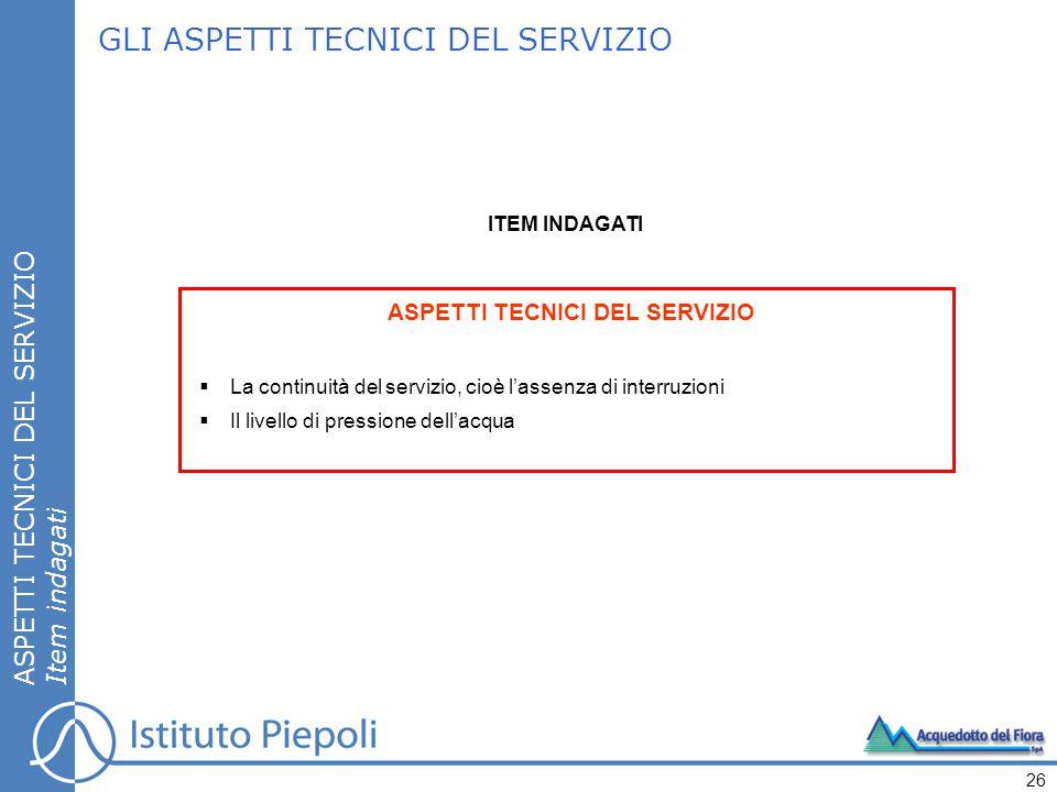 GLI ASPETTI TECNICI DEL SERVIZIO ASPETTI TECNICI DEL SERVIZIO Item indagati 26 ASPETTI TECNICI DEL SERVIZIO  La continuità del servizio, cioè l'assen