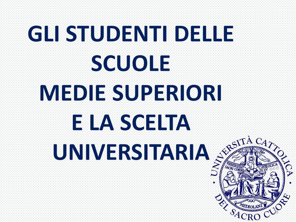 GLI STUDENTI DELLE SCUOLE MEDIE SUPERIORI E LA SCELTA UNIVERSITARIA 28