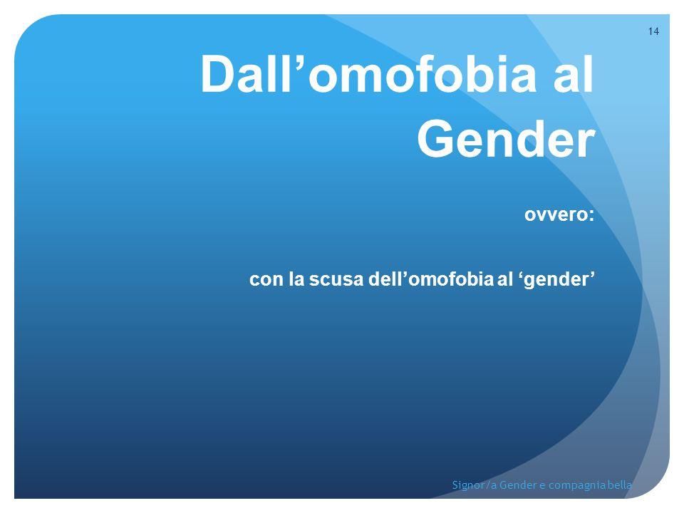 Dall'omofobia al Gender ovvero: con la scusa dell'omofobia al 'gender' 14 Signor/a Gender e compagnia bella