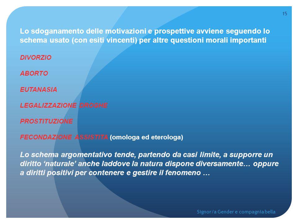 Lo sdoganamento delle motivazioni e prospettive avviene seguendo lo schema usato (con esiti vincenti) per altre questioni morali importanti DIVORZIO A
