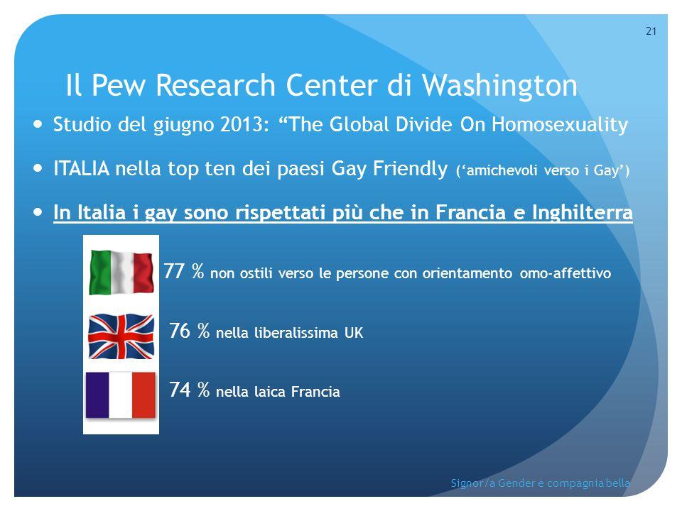 """Il Pew Research Center di Washington Studio del giugno 2013: """"The Global Divide On Homosexuality ITALIA nella top ten dei paesi Gay Friendly ('amichev"""