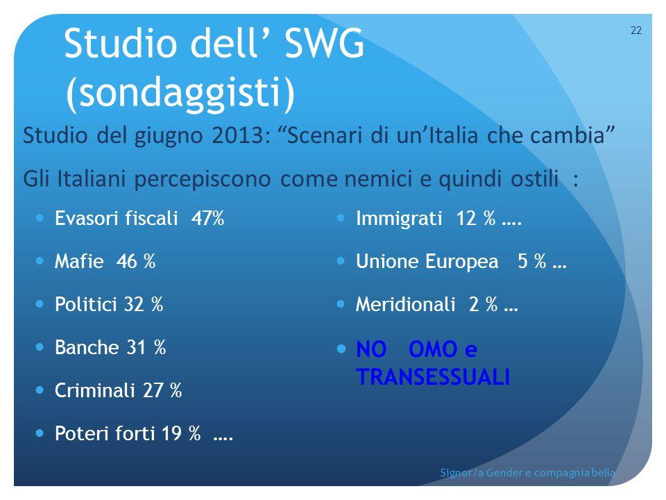 Studio dell' SWG (sondaggisti) Evasori fiscali 47% Mafie 46 % Politici 32 % Banche 31 % Criminali 27 % Poteri forti 19 % …. Immigrati 12 % …. Unione E