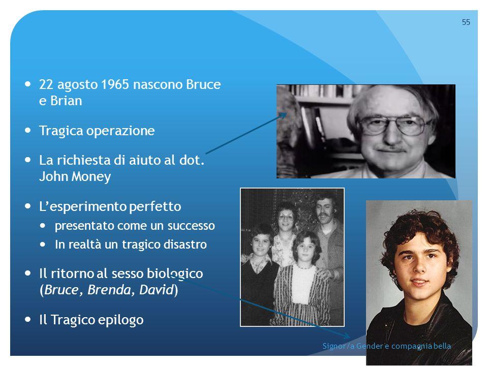 22 agosto 1965 nascono Bruce e Brian Tragica operazione La richiesta di aiuto al dot. John Money L'esperimento perfetto presentato come un successo In