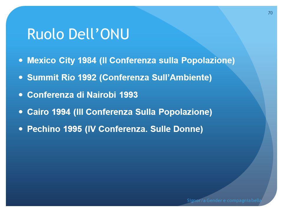 Ruolo Dell'ONU Mexico City 1984 (II Conferenza sulla Popolazione) Summit Rio 1992 (Conferenza Sull'Ambiente) Conferenza di Nairobi 1993 Cairo 1994 (II