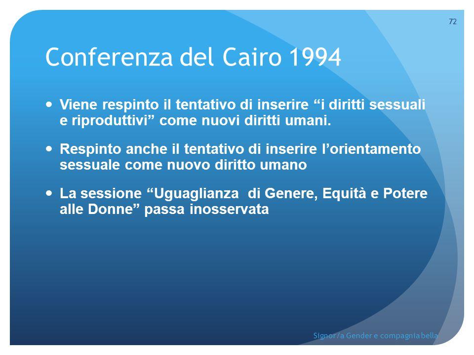 """Conferenza del Cairo 1994 Viene respinto il tentativo di inserire """"i diritti sessuali e riproduttivi"""" come nuovi diritti umani. Respinto anche il tent"""