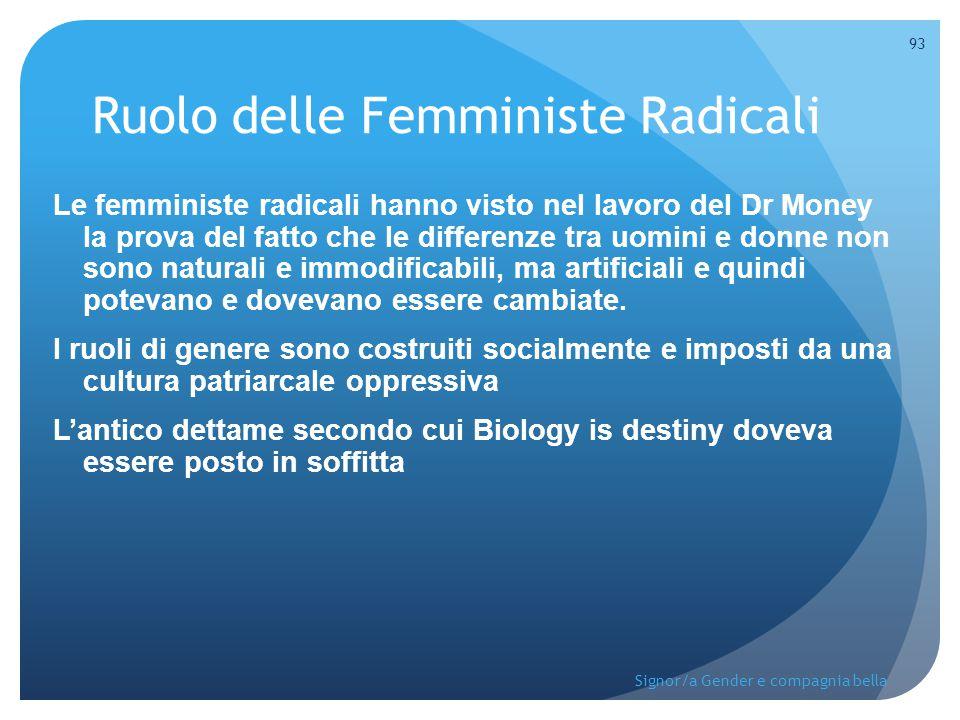 Ruolo delle Femministe Radicali Le femministe radicali hanno visto nel lavoro del Dr Money la prova del fatto che le differenze tra uomini e donne non