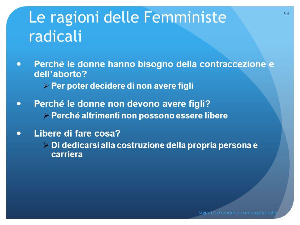 Le ragioni delle Femministe radicali Perch é le donne hanno bisogno della contraccezione e dell ' aborto?  Per poter decidere di non avere figli Perc