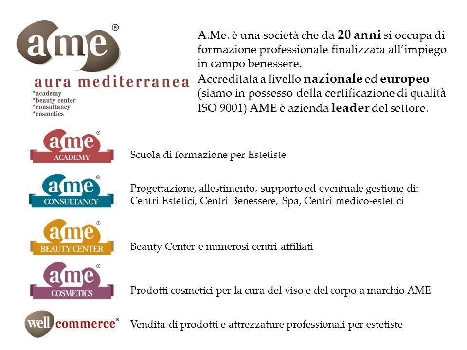 A.Me. è una società che da 20 anni si occupa di formazione professionale finalizzata all'impiego in campo benessere. Accreditata a livello nazionale e